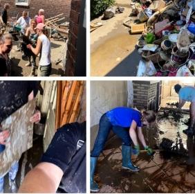 Dans l'urgence les premiers gestes de solidarité aux sinistrés des inondations de chaque rotarien! cuisiner, trier,nettoyer...